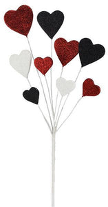 "19.5""L Glitter/Eva Heart Pick Black/White/Red MN0173F7"