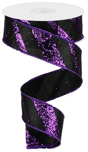 "1.5""X10YD GIANT DIAGONAL LINES BLACK/PURPLE RGA1294YR - DecoExchange"