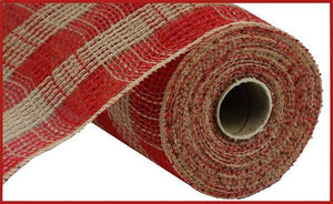 "10.5""X10Yd Faux Jute/Pp Small Check Red/Natural RY832052 - DecoExchange"