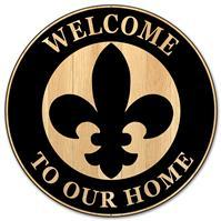 "12""DIA METAL ""WELCOME TO OUR HOME"" SIGN Black/Tan MD0461"