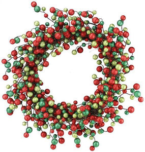 "24""Dia Round Mixed Glitter Ball Wreath Red/Emerald/Lime XW2034A3"