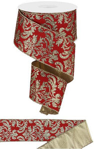 "2.5""X10Yd Bold Damask/Met Fused Back Red/Lt Gold RGX000336 - DecoExchange"
