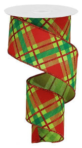 "2.5""X50Yd Glitter Plaid On Royal Lime/Red/Emerald RGA52022Y - DecoExchange"