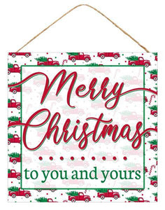 "10""Sq Merry Christmas To You/Yours Sign White/Red/Green AP7010 - DecoExchange"