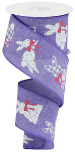"2.5""X10Yd Patterned Bunnies On Royal Lavender/White/Pink RGC123513"