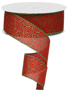 "2.5""X50Yd Glittered Scroll Circle Red/Emerald Green RX9512T9 - DecoExchange"