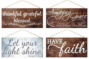 "12""L X 6""H Tin Religious Signs 4 Asst Styles MD0438"