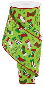 "4""X10Yd Christmas Stockings On Royal Lime/Red/Emerald/Wht/Blk RGB126933 - DecoExchange"
