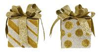 "2 ASST 4.75""H DOT/STRIPE SQUARE PACKAGE Champagne/Gold XC829379"