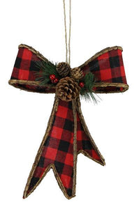 "12.5""H Gingham/Euonymus Ribbon Bow Red/Black XC619733 - DecoExchange"