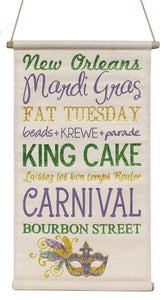 "32""L Mardi Gras Words Banner Mardi Gras On Natural-Wp AP9090 - DecoExchange"