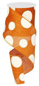 "4""X10Yd Giant Multi Dots Orange/Ivory RG0120120 - DecoExchange"