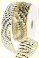 "2.5""X25yd Wide Foil Stripe Gold/Silver Mesh Ribbon RR3063JC"