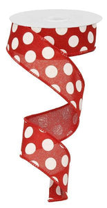 "1.5""X10Yd Medium Multi Dots Red/White Rx9145W7"