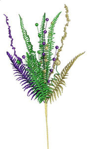 "29""L Glittered Fern/Ball Spray Mardi Gras HG3192 - DecoExchange"