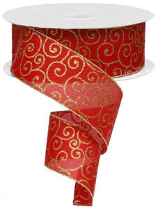 "2.5""X50Yd Glittered Thin Scroll Red/Gold RX950636 - DecoExchange"