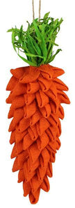 "14.5""L Burlap/Grass Carrot Ornament Orange/Green EV8943 - DecoExchange"