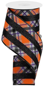 "4""X10Yd Glitter Plaid On Royal Lt Grey/Purple/Orange RG893010"