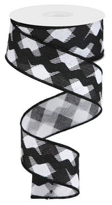"1.5""X10Yd Diagonal Check/Royal Ricrac White/Black RG2074X6 - DecoExchange"