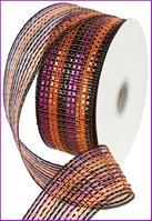 "2.5""X25YD WIDE FOIL STRIPE Mesh Ribbon Black/Orange/Purple RR3064KJ"