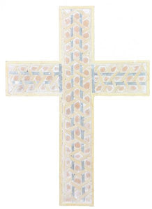 "22""H Double Strip Bamboo Woven Cross Natural W/Whitewash AW956841 - DecoExchange"