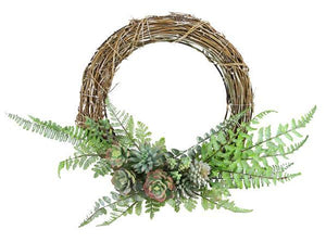 "22""Dia Grapevine/Fern/Succulent Wreath Natural/Green/Grey TW3142 - DecoExchange"