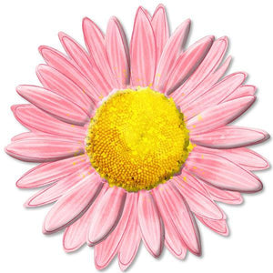 "12""Dia Metal/Embossed Daisy Lt Pink/Hot Pink/Yellow MD066015 - DecoExchange"