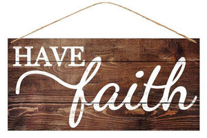 "12""L X 6""H Tin Have Faith Natural/White MD0408 - DecoExchange"