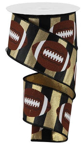 "2.5""X10Yd Footballs Gold/Brown/Black RGA142208 - DecoExchange"