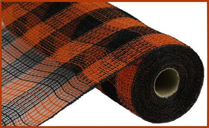"10.5""X10Yd Faux Jute/Pp Small Check Orange/Black RY8320F7 - DecoExchange"