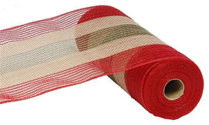 "10.5""X10Yd Poly/Faux Jute Wide Stripe Red/Moss Green/Natural RY830161 - DecoExchange"