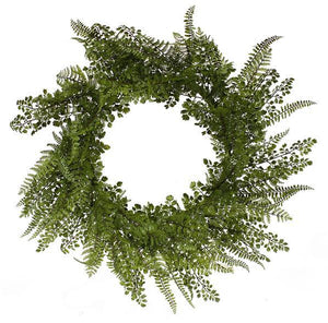 "24""Dia Maiden/Leather/Lace Fern Wreath Natural FG5226 - DecoExchange"
