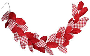 6'L Magnolia Leaf Garland Red/White MY102070 - DecoExchange