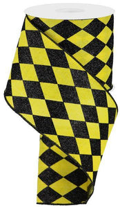"4""X10Yd Glitter Harlequin Check Yellow/Black RGA150029 - DecoExchange"