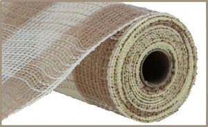 "10.5""X10Yd Faux Jute/Pp Large Check Natural/Cream RY831554 - DecoExchange"