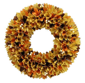 "17.25""Dia Woodchip Flower/Berry Wreath Orange/Mustard/Lt Brown HA1440 - DecoExchange"