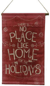 "15.5""L Home For The Holidays Mini Banner Natural On Red (Wp) AP9305 - DecoExchange"