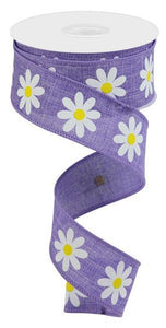 "1.5""X10Yd Daisy On Royal Lavender/White/Yellow RGC130813 - DecoExchange"