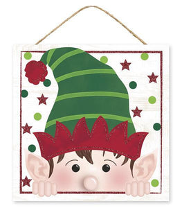 "10""Sq Glitter Peeking Elf Face White/Red/Emerald/Lime AP8852 - DecoExchange"