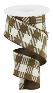 "2.5""X50YD LARGE STRIPED CHECK ON ROYAL BROWN/IVORY RGA542704"
