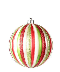 150Mm Vert Stripe Ball Lime/Red/White Mica/Pearl XY4819JG - DecoExchange