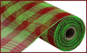 "10.5""X10YD FAUX JUTE/PP SMALL CHECK RED/FRESH GREEN RY832055 - DecoExchange"