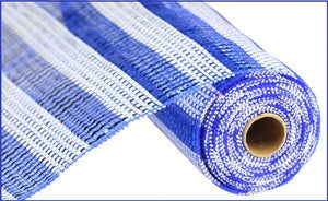 "10.25""X10Yd Horizontal Stripe Foil/Mesh Blue/White RE1381N6 - DecoExchange"