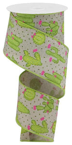 "2.5""X10Yd Cactus On Royal Lt Nat/Lt Grn/Pink/Yllw RGA163818 - DecoExchange"