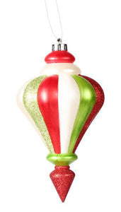 "10""L Finial Ornament Lime/Red/White Mica/Pearl XY4822JG - DecoExchange"
