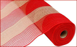 "21""X10Yd Poly/Faux Jute Wide Stripe Red/Natural RY930052 - DecoExchange"