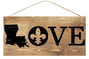 "12.5""L X 6""H Louisiana Love Sign Brown/Black AP8376"