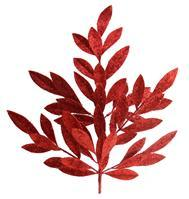 "23""L GLITTER BAY LEAF SPRAY Red QTY 4 XS618224"