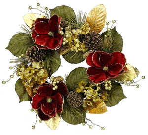 "27""Dia Glitter Hydrangea/Magnolia Wreath Gold/Red/Green XX235743 - DecoExchange"