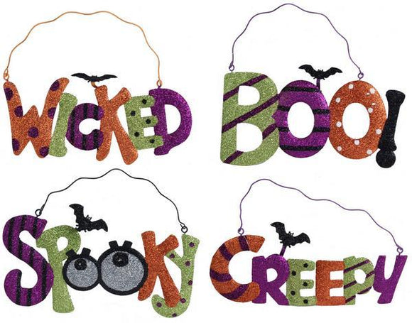 4 Asst Halloween Words W/Bat Lime/Purple/Orange/Black HH7213